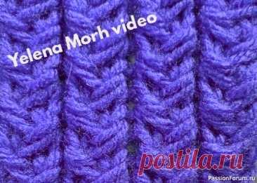 Узор ''Столбики из плетёнки''. Видео МК | Вязание спицами для начинающих Имитация резинки, или простой вертикальный аран.