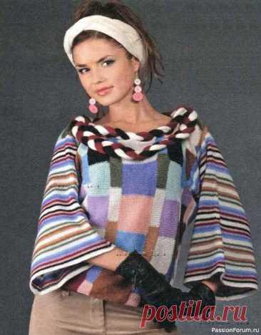 Пуловер, повязка и шарф | Вязание для женщин спицами. Схемы вязания спицами Размер: 38Вам потребуется:• 100 г белой, по 50 г чёрной, бирюзовой, голубой, розовой, сиреневой, фиолетовой, серой, горчичной, тёмно-горчичной и бордовой пряжи (30% ангоры, 70% акрила, 275 м/50 г)• вязальная машина Silver Reed• крючок № 2,5Плотность вязания, структурная кулирная гладь на...