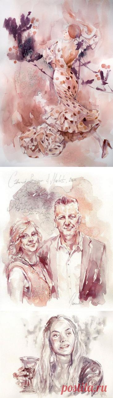 Художница из Сербии создаёт красивые картины, рисуя их красным вином. - Vinegret