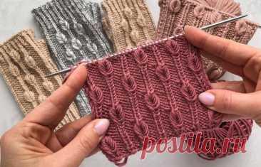 Резинка спицами с витыми мини листочками - Knitting.Klubok.ru.com