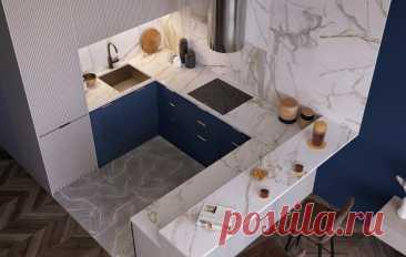 Спальня за красивой перегородкой и волшебная ванная комната в студии 55 м² — INMYROOM