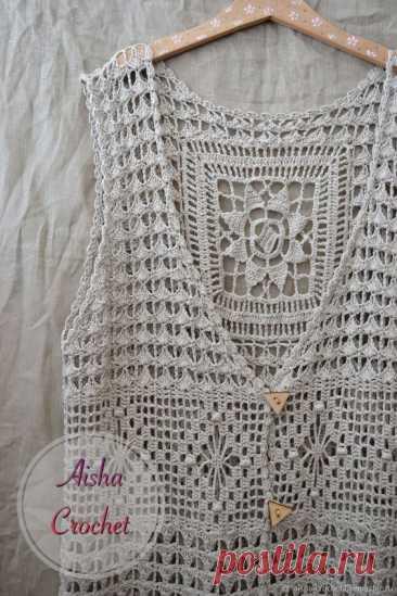 Жилеты ручной работы. Бохо шазюбль. Aisha Crochet. Ярмарка Мастеров. Жилет вязаный