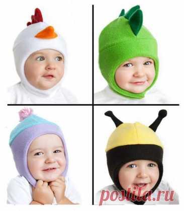 Идеи детских шапочек из флиса...+ теплые пинетки (выкройки)