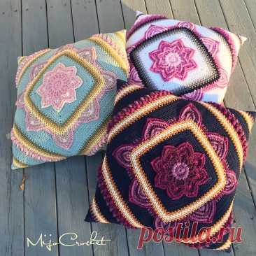 Pillow cover in crochet in flower - CRAFTS LOVED So in today's tutorial you will learn how to make pillow cover very similar to the mandala pattern in crochet, which will make your environment more beautiful and charming.