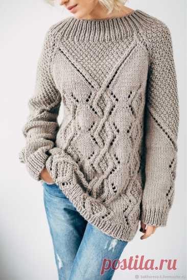 ИДЕЯ ДЛЯ ПЛАТЬЯ #вязаный_пуловер@modnoe.vyazanie Пуловер спицами. Схема.