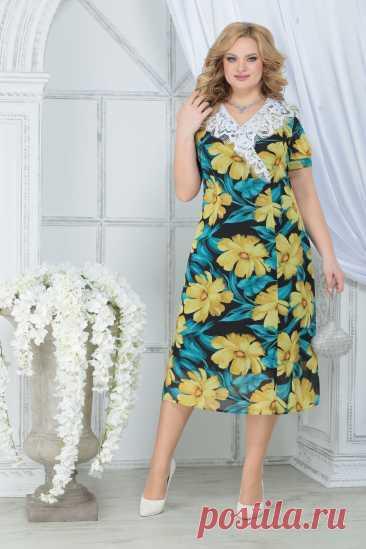 Платье Ninele 7319 желтые ромашки купить с доставкой по России | Интернет-магазин BelaRosso-shop.ru