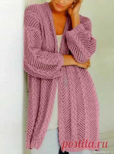 Красивый ажурный кардиган | Вязание для женщин спицами. Схемы вязания спицами
