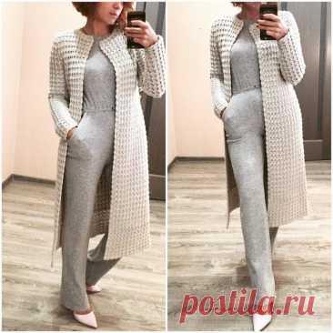 Вязаная мода: элегантное вязанное крючком пальто