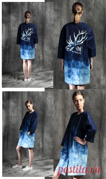 """Купить Джинсовое пальто """"Сибирь"""" - голубой, рисунок, джинса, джинсовый стиль, джинсовое пальто"""