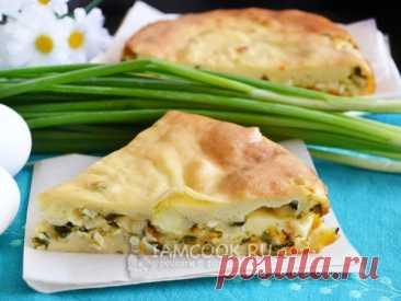 Очень вкусный и сочный заливной пирог с яйцом и зелёным луком. Жидкое тесто готовим на сметане.