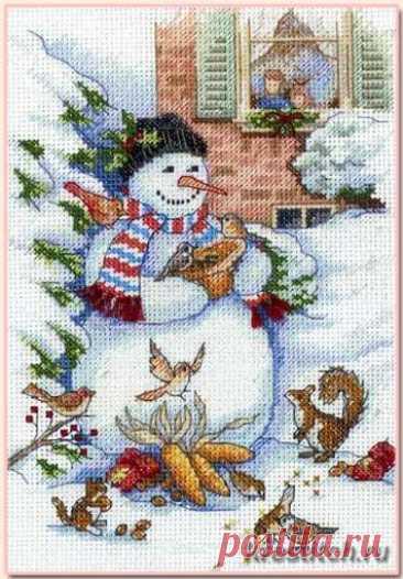 Snowman and Friends - Снеговик и друзья (арт. 08801 Dimensions) набор для вышивания крестом купить в Stitch и Крестик