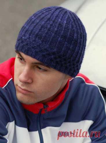 Мужские шапки, 38 моделей с описанием связанных спицами, Вязание для мужчин