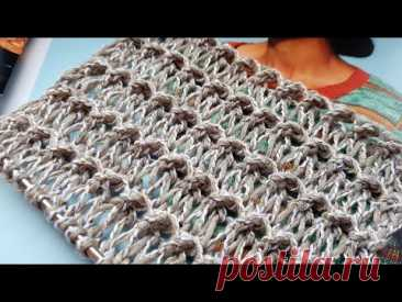 Вяжем узор с эффектом вытянутых петель из новой пряжи 📣 knitting pattern.