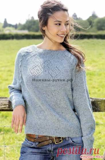 Вязаный спицами пуловер Brannagh от Мари Валлин Размеры  Соттвествует окружности груди: 81-86 (91-97) 102-107 (112-117) 122-127 см. Окр. груди готвого пуловера: 93 (103) 114 (126) 141 см. Длина от плеча: 58 (60) 62 (64) 66 см.