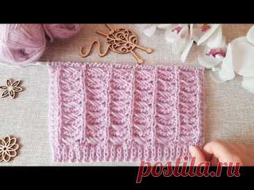 Вяжем узор с оригинальным плетением спицами. - YouTube