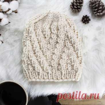 Вязаная объемная шапка для начинающих своими руками