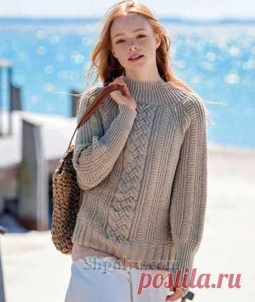 Пуловер реглан с широкой «косой» — Shpulya.com - схемы с описанием для вязания спицами и крючком