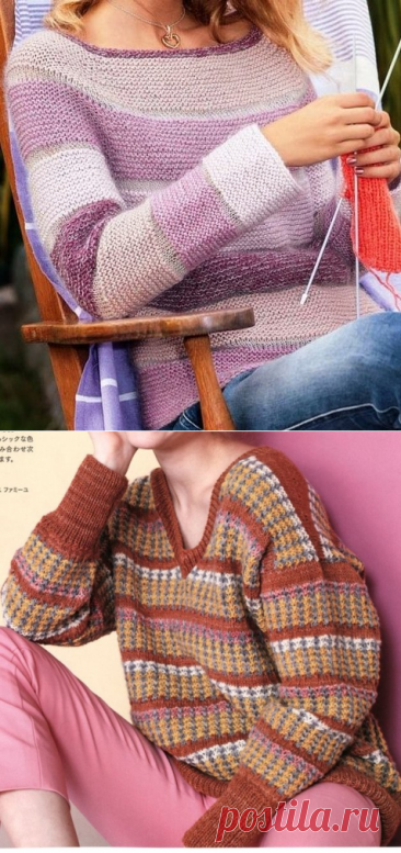Интересные полоски - оригинальное изделие. Вязание спицами.