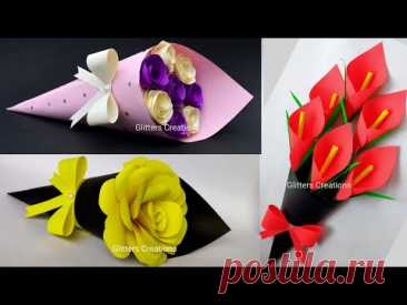 3 Mother's day gift ideas/DIY Paper Flower BOUQUET/Birthday Gift ideas/Flower Bouquet making at Home
