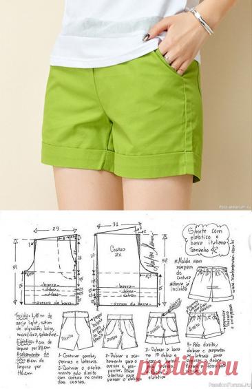 Выкройка женских шорт на резинке на все размеры | Швейная мастерская