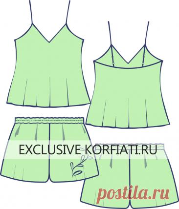 Выкройки одежды для сна - топ и шорты от Анастасии Корфиати