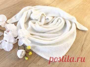 Вяжем платок из пуха норки с декоративным краем   Журнал Ярмарки Мастеров