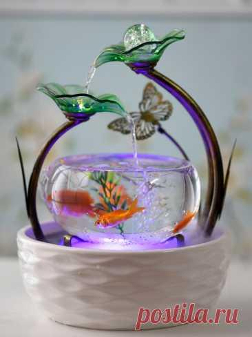 6745.66руб.  Домашний маленький аквариум для рыбы для гостиной, украшение для телевизора, керамический фонтан, Настольный увлажнитель, креативный подарок на день рождения Статуэтки и миниатюры     - AliExpress Покупай умнее, живи веселее! Aliexpress.com