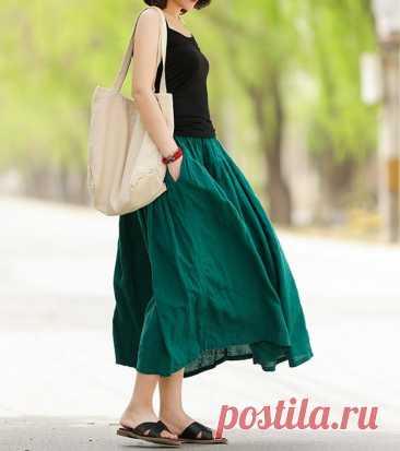 Green skirt womens dresses summer midi skirt Linen skirt | Etsy