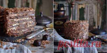 """Шикарный шоколадно-кофейный """"Наполеон"""" – нежный и влажный!"""