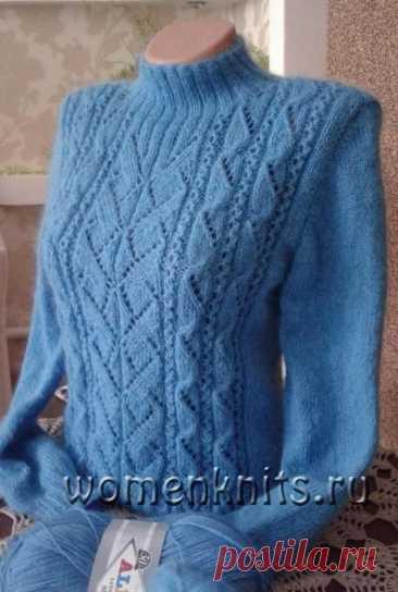 Пуловер «геометрия» спицами