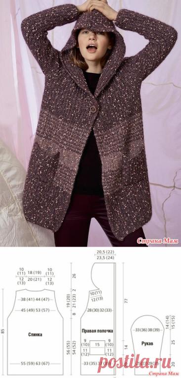 Пальто с капюшоном и карманами - Вязание - Страна Мам