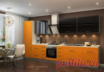 Кухня в оранжевом цвете фасады Schuco купить по цене 35 000 руб. за п/м. в Москве— интернет магазин chudo-magazin.ru