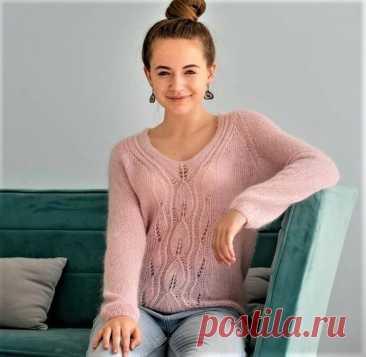 Легкий, нежный пуловер из мохера (Вязание спицами) – Журнал Вдохновение Рукодельницы
