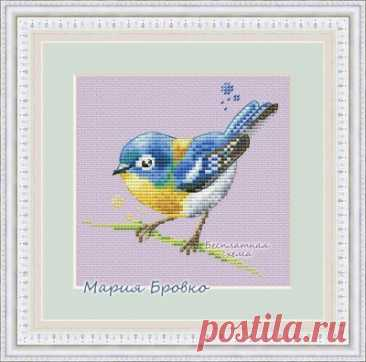 Акварельная птичка- авторская схема для вышивки крестом синицы