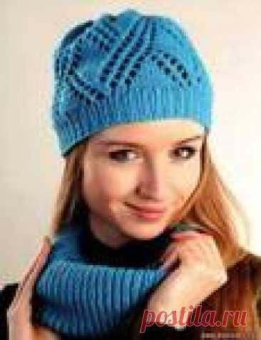 Очаровательный бирюзовый комплект: шапка и шарф хомут спицами