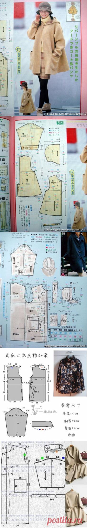Простые выкройки пальто (много) / Простые выкройки / ВТОРАЯ УЛИЦА