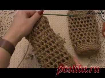 Вязание крючком из джута сумочки для термоса - YouTube