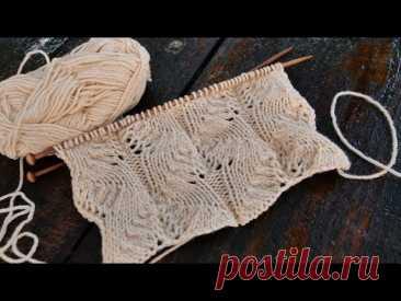Кружевной узор для свитеров спицами 🌺 Lace knitting pattern for sweaters