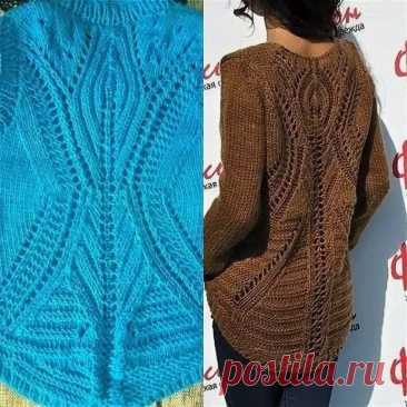 Вяжем сами пуловер с ажурной спинкой
