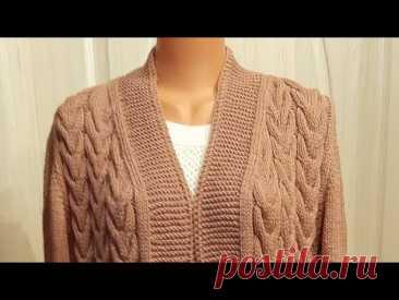 Женский кардиган. Большой размер. Часть 2 Спинка #мастеркласс #красивыйузор #вязание #knitting  #мк