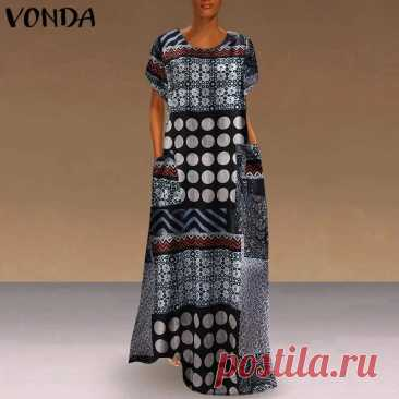 Модное осеннее платье VONDA, женские платья с круглым вырезом, лоскутный сарафан, повседневное винтажное платье с принтом, платье из хлопка и льна, сарафаны|Платья| | АлиЭкспресс