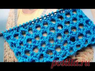 Вяжем сеточку с крупными окошками 🌶 knitting pattern.
