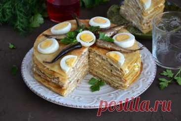 Несладкий блинный торт рецепт с фото пошагово и видео - 1000.menu