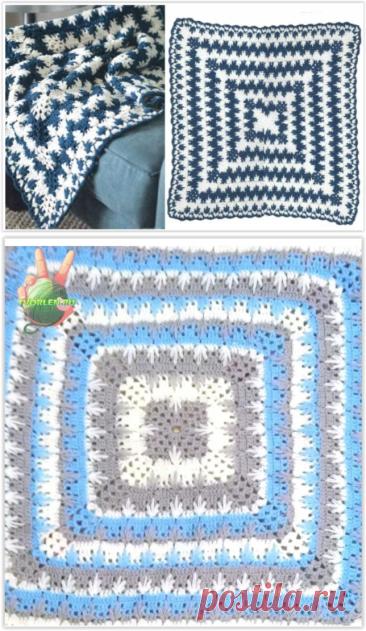Простая красивая схема для вязания крючком одеяла или пледа от центра