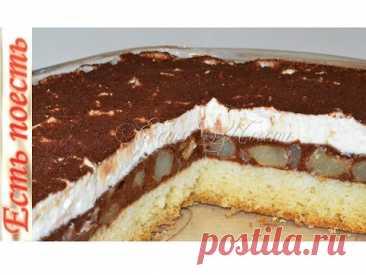 Быстрый торт с грушево-шоколадной начинкой,  пеки хоть каждый день!