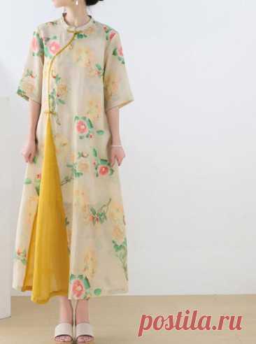 Linen summer dress floral dress long dress Linen dress with   Etsy