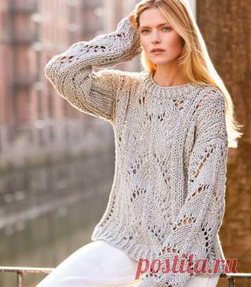 Только очень уверенный в себе мастер может связать ажурный пуловер из толстого хлопка | Рекомендательная система Пульс Mail.ru