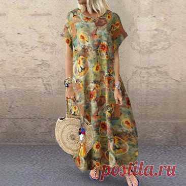 1009.08руб. 38% СКИДКА|ZANZEA летнее винтажное платье с цветочным принтом, женский сарафан с коротким рукавом, повседневное платье в богемном стиле из хлопка и льна, платье Кафтан размера плюс 7|Платья|   | АлиЭкспресс Покупай умнее, живи веселее! Aliexpress.com