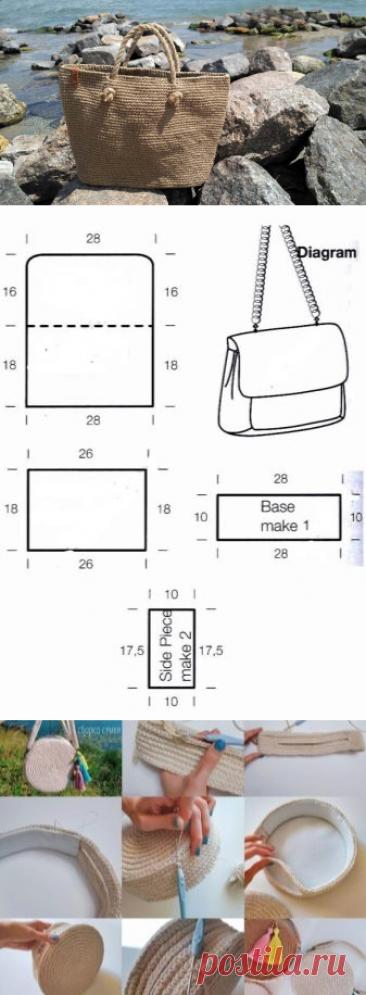 Джутовые сумки (52 фото): вязаные крючком и спицами, их описание и схема, мастер-класс. Как связать их из шпагата своими руками?