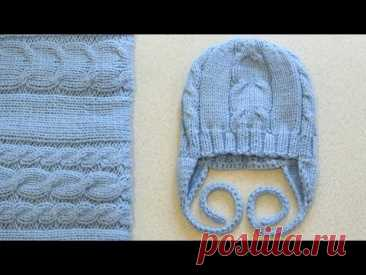 """CAP WITH EARS SPOKES ON AGE of 0-3 months. Set: """"BLU CLASSICO&quot PLAID; the CAP WITH EARS AND BOOTEES"""